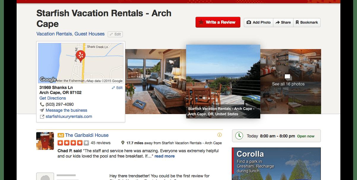 Yelp review screenshot of Starfish Vacation Rentals.