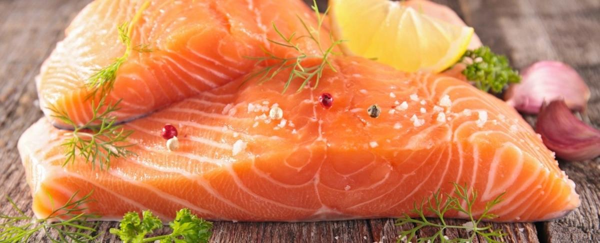 Close up of raw fish filet.