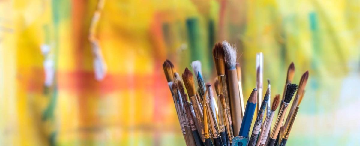 Close up of paintbrushes.