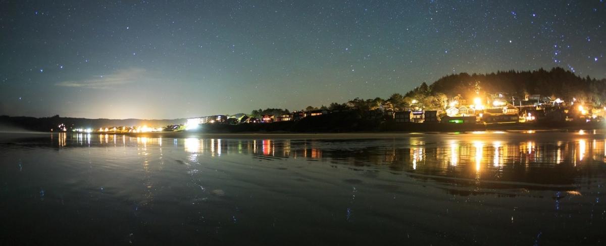 Oregon Coast town at night.