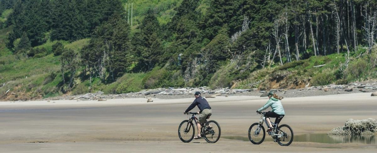 Bikers on Arcadia Beach.