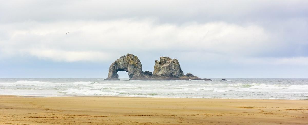Twin rocks at Rockaway Beach.