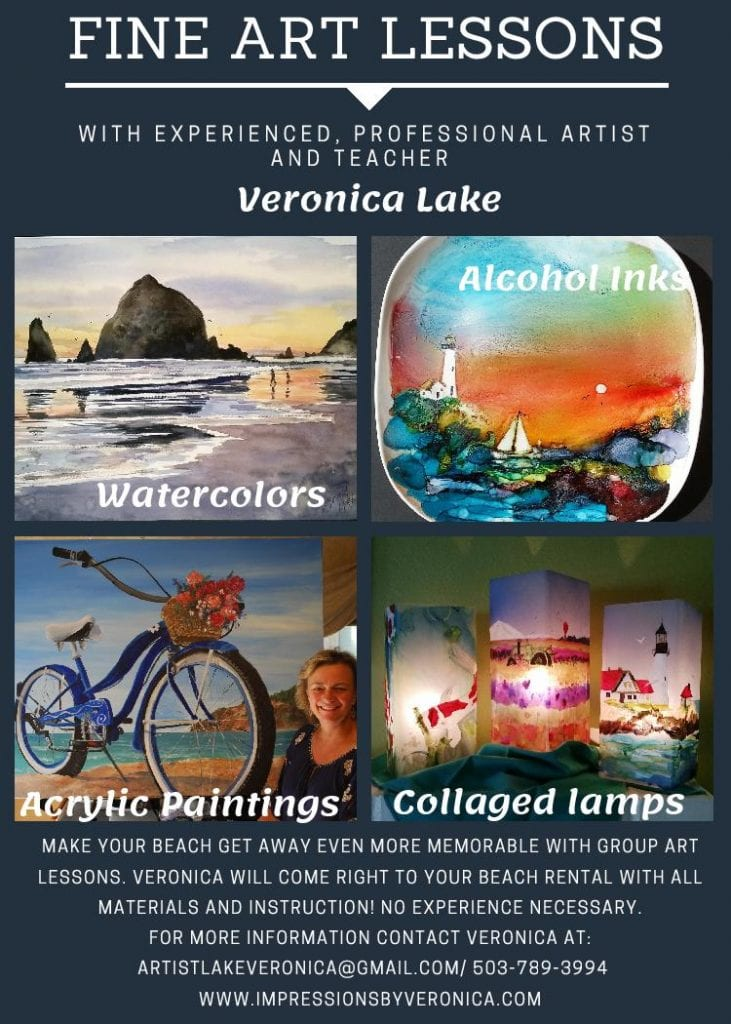 Text: Fine Art Lessons with experiences, professional artist and teacher Veronica Lake.