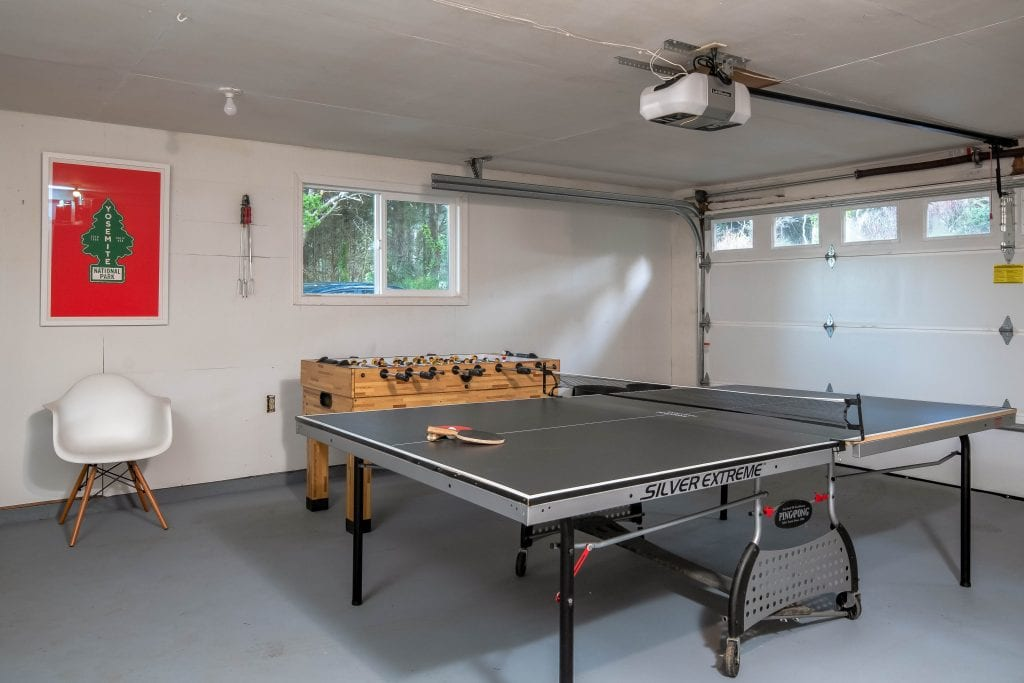 Game room with ping pong and foosball