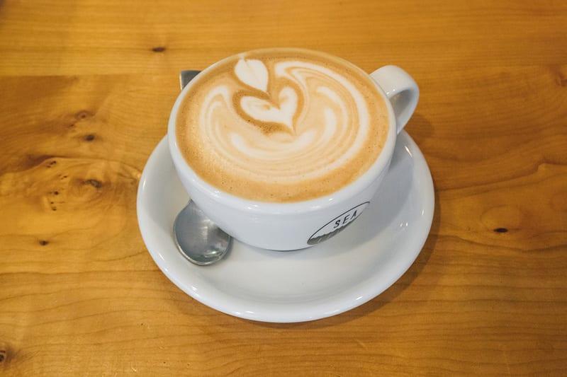 Latte with foam art.