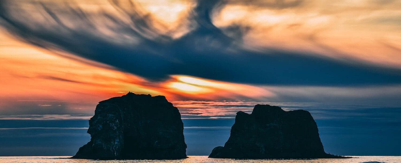 Twin Rocks at sunset.