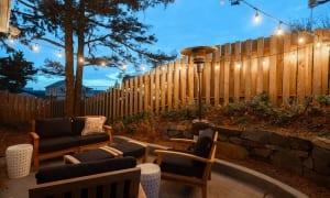 Villa Manzanita backyard furniture and lights.