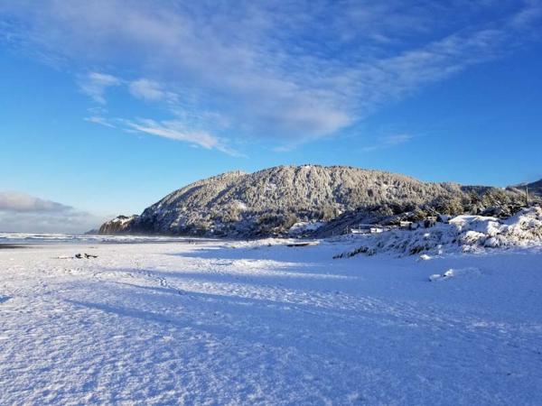 Snowy beach.