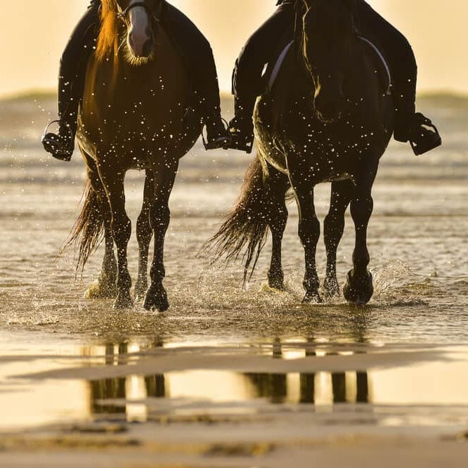 Photo of a Couple Beach Horseback Riding on the Oregon Coast.