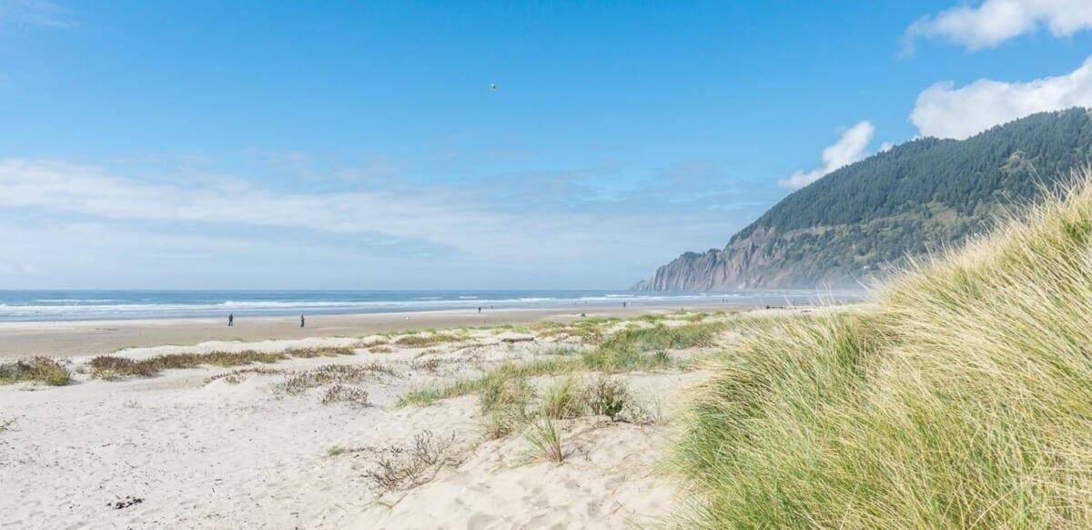 Coastal beach and hills.