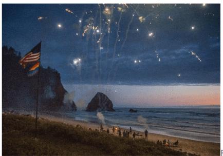 fireworks on Oregon coast